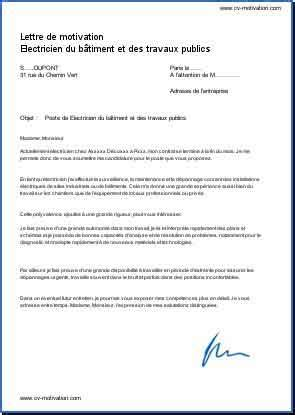 Lettre De Motivation Stage Travaux Publics lettre de motivation electricien