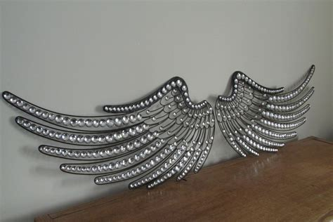 Wing Decor by Large Faux Jeweled Black Metal Wings Wall By Vintageabcs