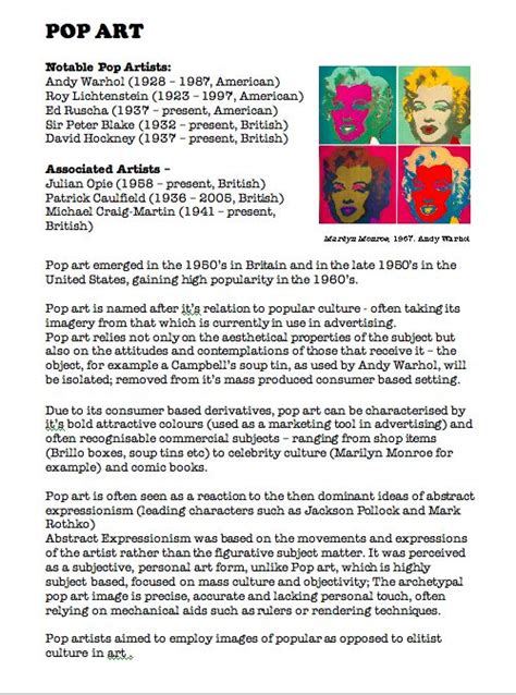 andy warhol biography for students pop art fact sheet blue sparrows art club art