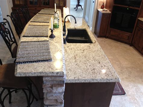 Venetian Bronze Kitchen Faucet by Giallo Ornamental Light Granite Double Ogee Edge Detail