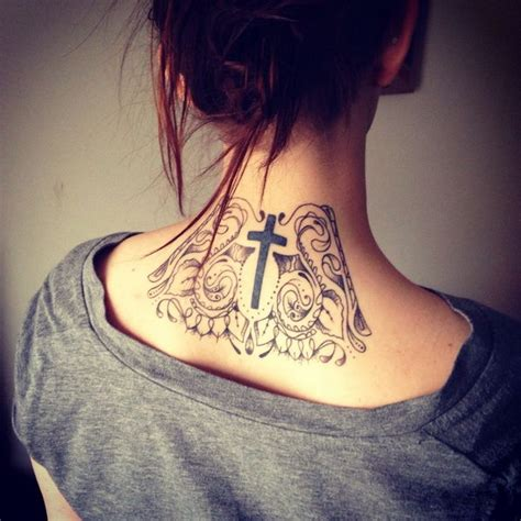 cross tattoos back neck 101 pretty back of neck tattoos