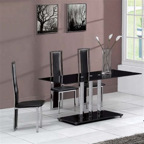 glass dining table and chairs glass dining table trilogy and 4 chairs tuxedo