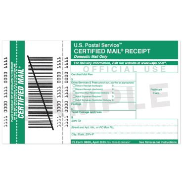 Usps Certified Mail Receipt Template by Certified Mail Receipt Usps