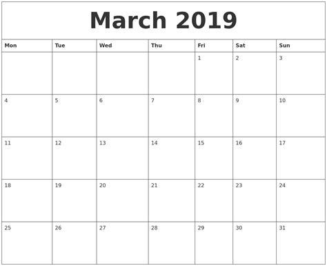 march 2019 calendar word march 2019 word calendar