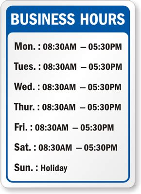 Business Hours Signs Trading Hours Template Free