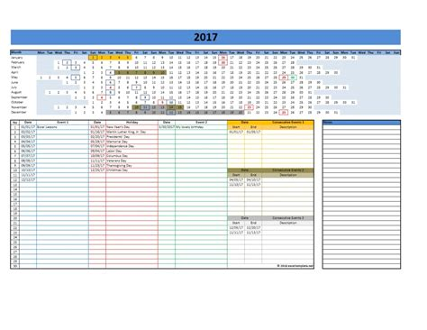 2017 And 2018 Calendars Excel Templates Excel Calendar Template