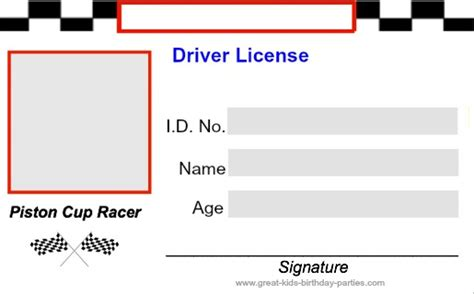 blank drivers license template best photos of race car cut out templates 3d paper car