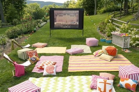 backyard party setup we re hosting an outdoor movie night complete with dozens