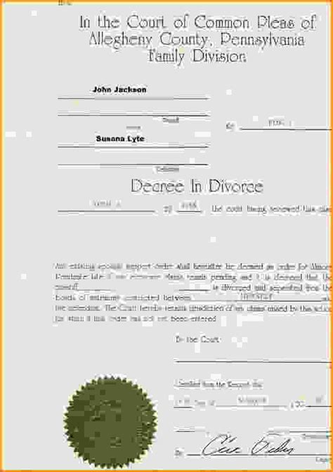 Divorce Decree Record Divorce Decree Template