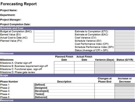project forecasting template financial forecast report financial forecast template