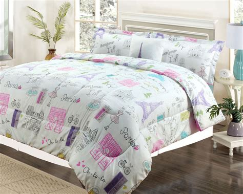 girls bedding sets full twin or full bedding girls comforter bed set paris eiffel