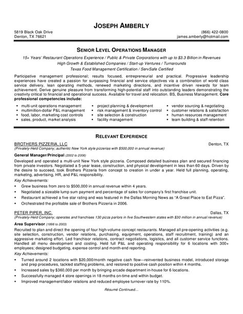 management resume exles food production manager resume sle http www
