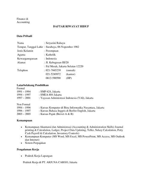 Contoh Daftar Riwayat Hidup Doc - cv nabila