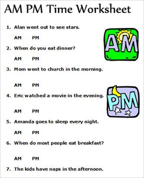 Am And Pm Worksheets by Am Pm Telling Time Worksheets Concept For Assessing