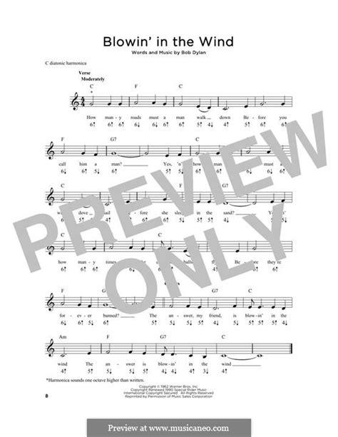 blowin in the wind w lyrics blowin in the wind by b sheet on musicaneo
