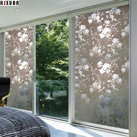 home decor sliding doors window privacy film sunscreen 80x100cm floral printed home