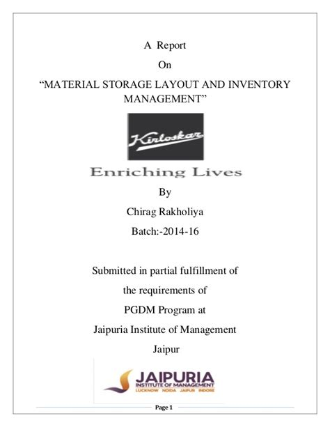 layout of internship report summer internship project report on material storage