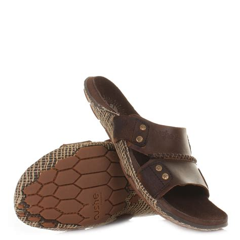 mens cushe manuka slide brown slip on leather mule sandals