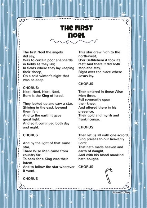 printable lyrics the first noel the first noel kids video song with free lyrics
