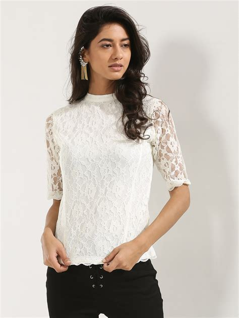 Top Hem Indian White A11556xg Buy Koovs High Neck Scallop Hem Lace Top In The Style Of