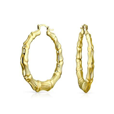 Hoop Earrings With bamboo 14k gold filled hoop earrings