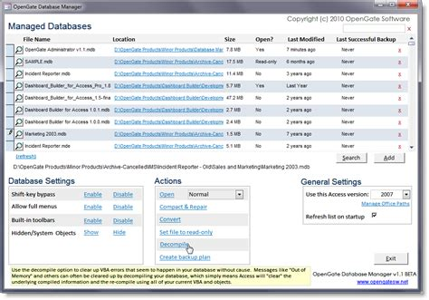 Access Search Opengate Database Manager Manage Many Access Databases Centrally Opengate Software Inc