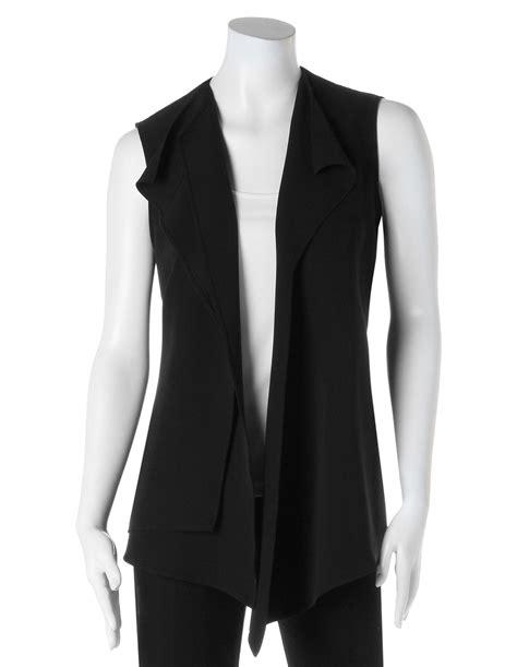 drape vest black drape vest blouse cleo