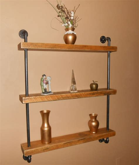 free shipping industrial pipe shelf pipe by reclaimedwoodusa