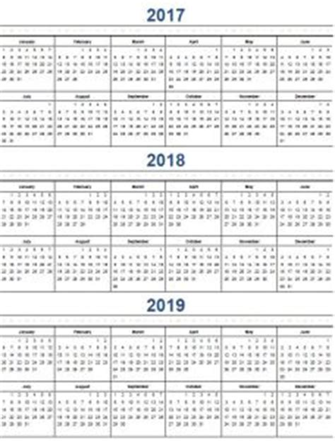 multi year calendar 2017 2019 calendar template 2016