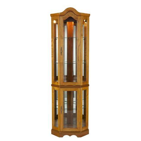southern enterprises lighted corner curio cabinet golden oak ebay