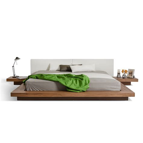 low profile platform bed modrest opal modern low profile platform bed walnut