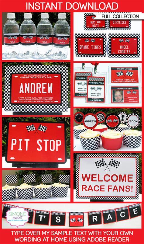 printable race car party decorations race car party printables invitations decorations