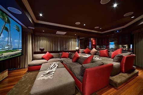 home theater with crown molding hardwood