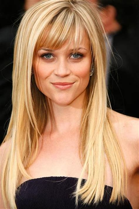 Reese witherspoon long straight blonde hairstyles with bangs