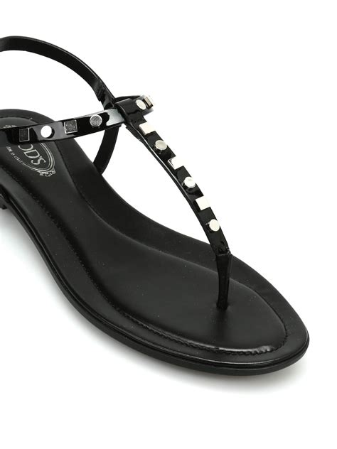 patent leather sandals flats studded patent leather flat sandals by tod s sandals ikrix