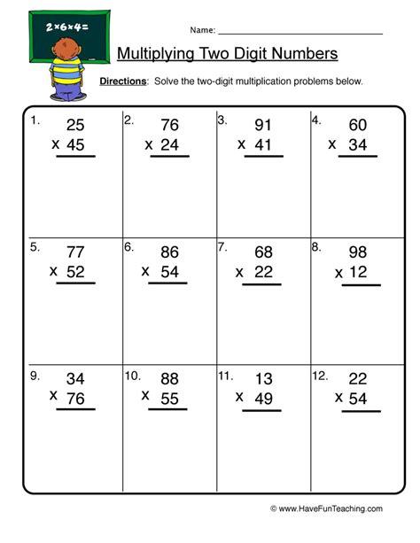 printable worksheets double digit multiplication pictures 2 by 2 digit multiplication worksheets leafsea