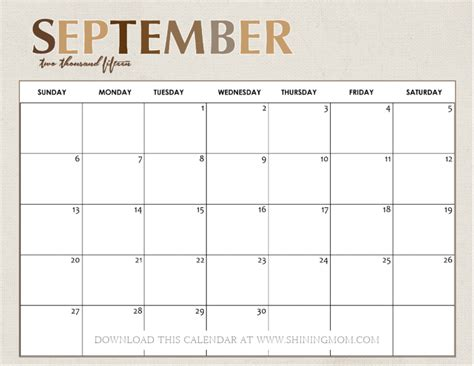 Blank Calendar September 2015 Printable September 2015 Calendar Gameshacksfree