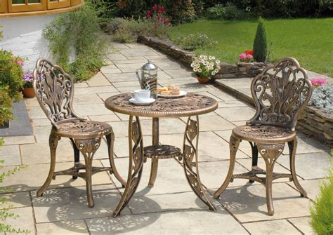 Patio Table And Chair Set 3 Resin Garden Bistro Patio Set In Bronze Lightweight 67cm Table And Chairs Set