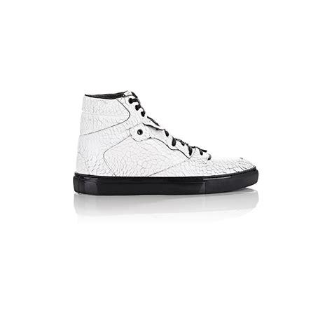 balenciaga s sneakers balenciaga craquele leather high top sneakers in white for