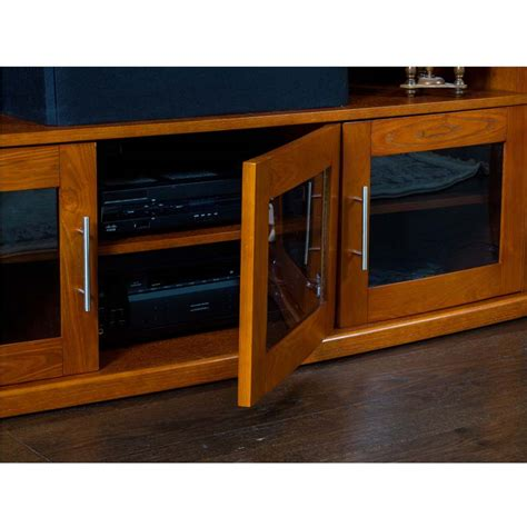 Corner Tv Cabinets With Glass Doors Plateau Newport Series Corner Wood Tv Cabinet With Glass Doors For 90 Inch Screens Black Or