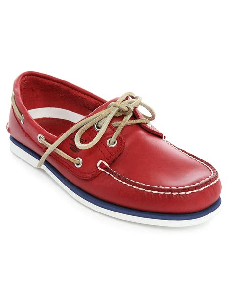 timberland red leather contrast sole boat shoes in red for - Timberland Boat Shoes Red Sole