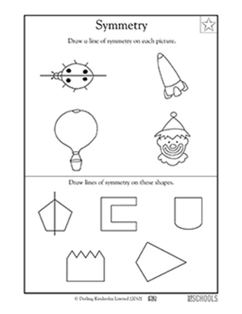 3rd grade 4th grade math worksheets lines of symmetry