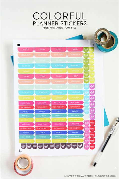 colorful printable weekly planner free printable colorful planner stickers silhouette cut
