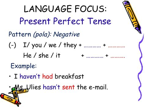 pattern of past perfect tense present perfect tense