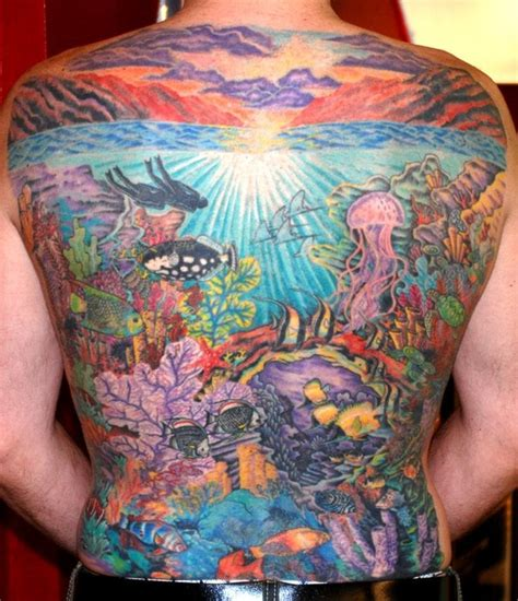 underwater scene tattoo designs water sea scape scuba tribute in reef yelp