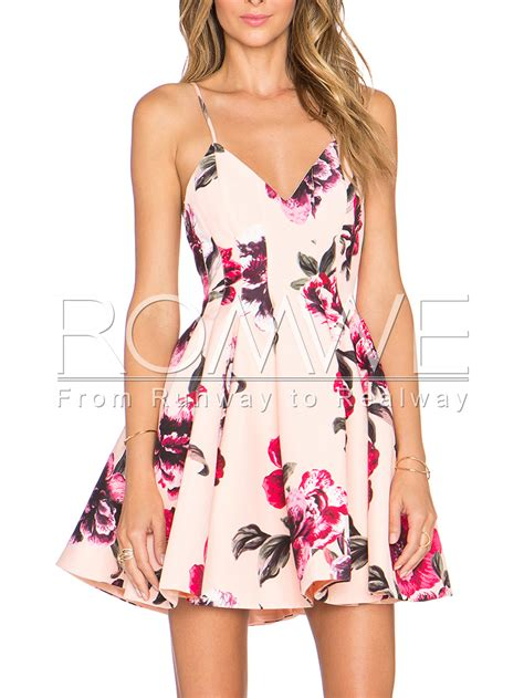 Malisa Flowery Flare Mini Dress pink spaghetti backless floral print flare dressfor