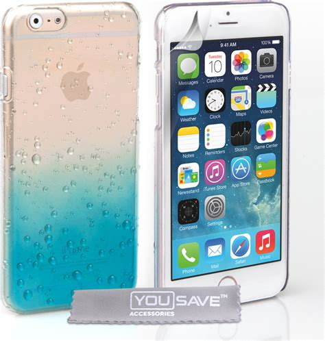Hardcase Clear Cover Iphone 6 6s yousave accessories raindrop blue clear iphone