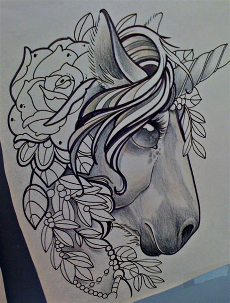 tattoo old school unicorn unicorn by michaelbrito on deviantart