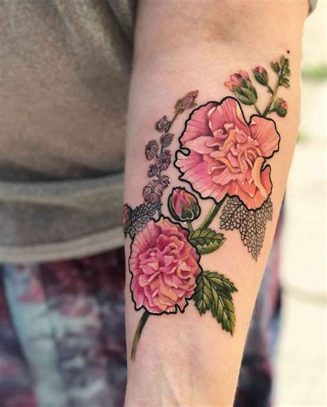 hollyhock tattoo designs 237 best flowers images on small