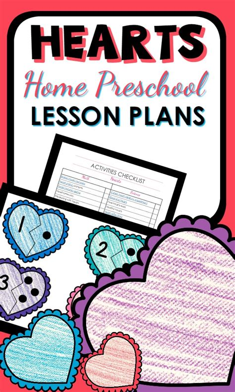 hearts theme home preschool lesson plan home preschool 101
